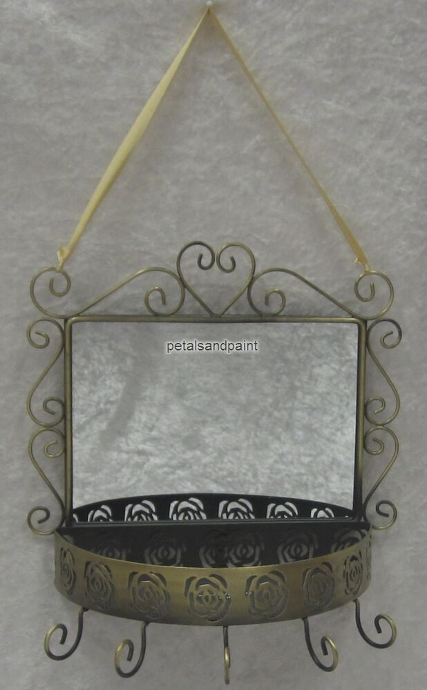 French provincial rustic jewellery or key holder with for Mirror key holder