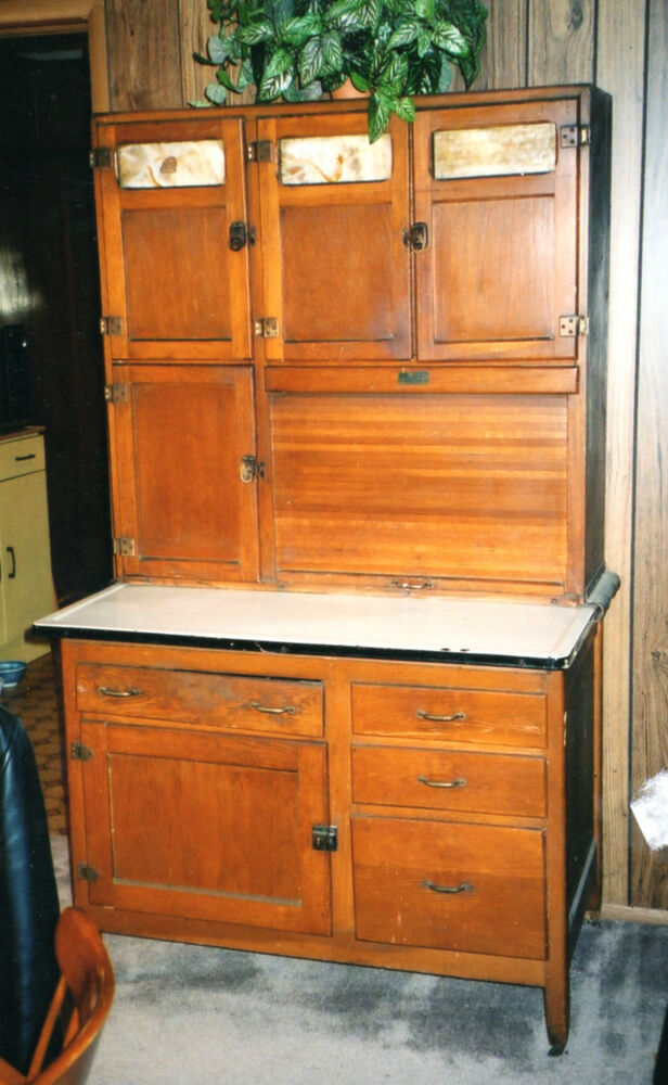 20th Century Oak Wooden Hoosier Cupboard Cabinet Original
