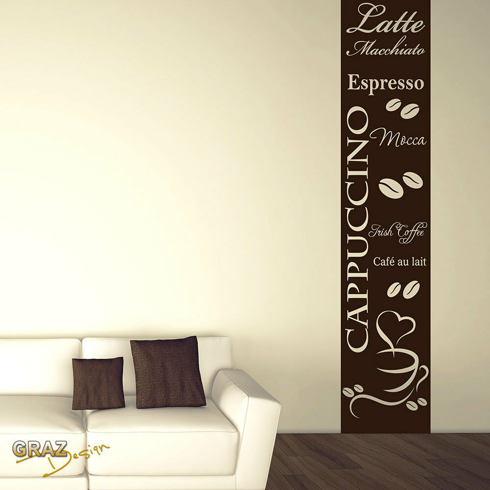 wandtattoo wandaufkleber wandbanner f r k che spruch cappuccino kaffeebohnen ebay. Black Bedroom Furniture Sets. Home Design Ideas