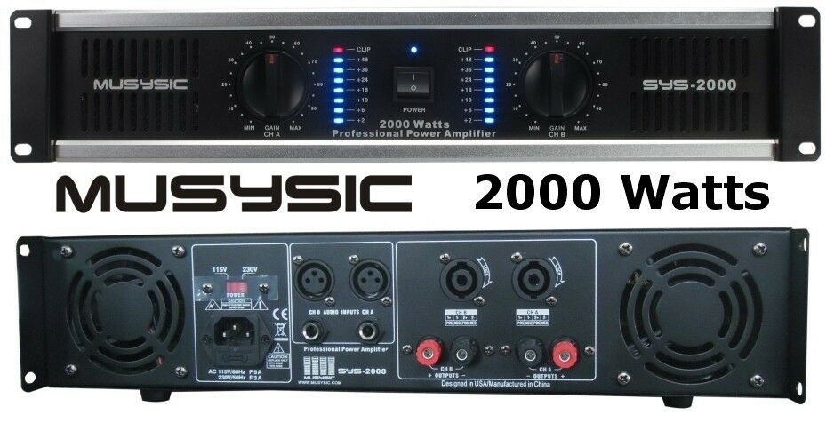 MUSYSIC 2 Channel 2000W Professional Power DJ Amplifier 2U Rack Mount Amp Stereo 9122000201209