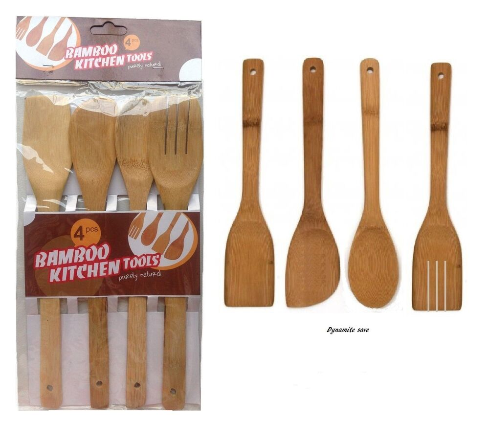 4 X Bamboo Wooden Spoon Spatula Turner Kitchen Cooking