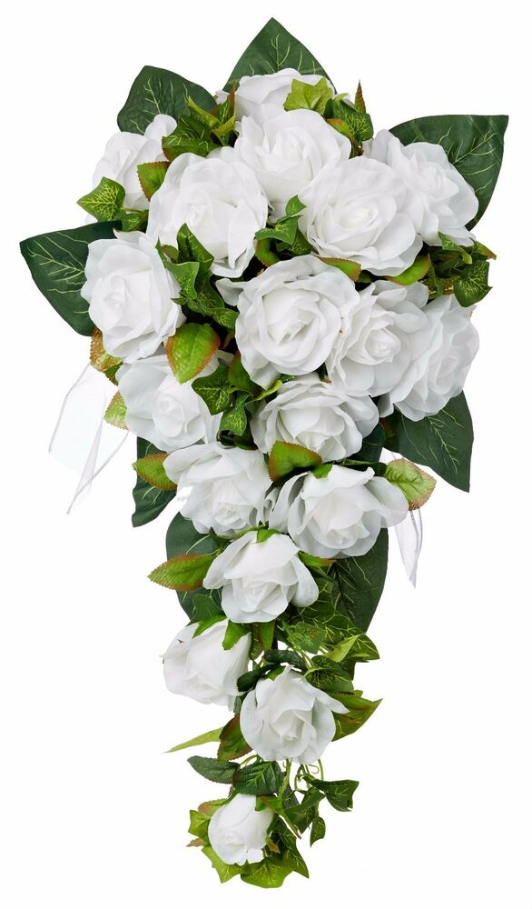 silk rose wedding bouquets white silk cascade silk bridal wedding bouquet ebay 7413