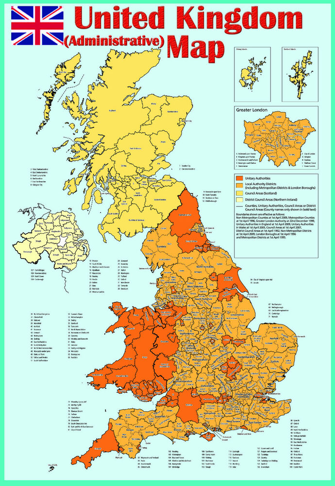 Laminated United Kingdom Uk Administrative Map Poster
