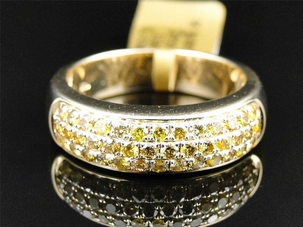 Mens yellow gold canary round cut diamond 6mm wedding band for Mens diamond wedding rings yellow gold