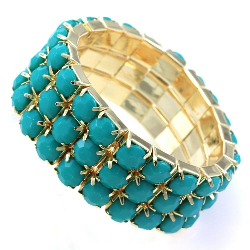 Turquoise Teal Beads Stretch Cuff Bracelet Gold Tone