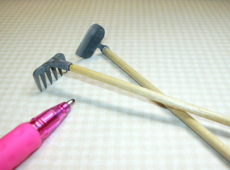 Miniature gardening tools hoe and rake for dollhouse 1 for Miniature garden tools