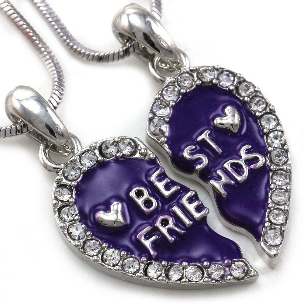 Friendship Quotes Jewelry: Best Friends Forever BFF Lavender Purple Heart Pendant