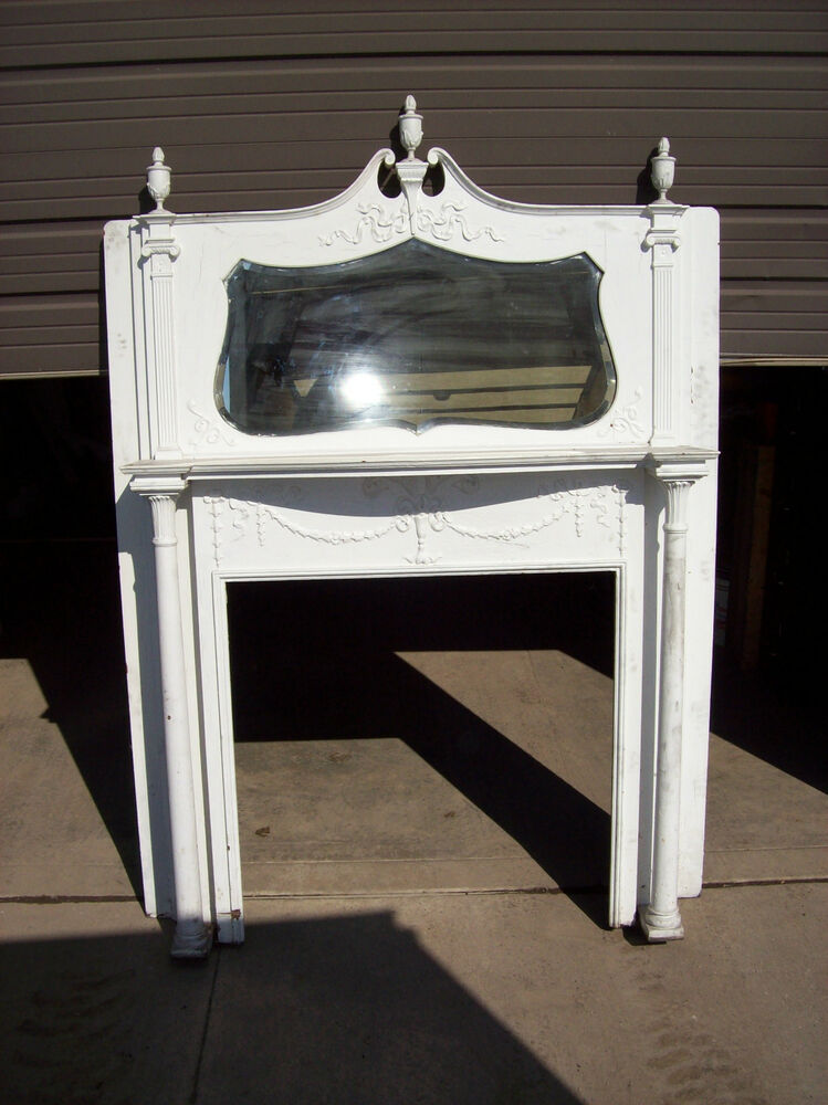 painted cherry crest bevel mirror fire place mantle tall 2 column carvings f a ebay. Black Bedroom Furniture Sets. Home Design Ideas