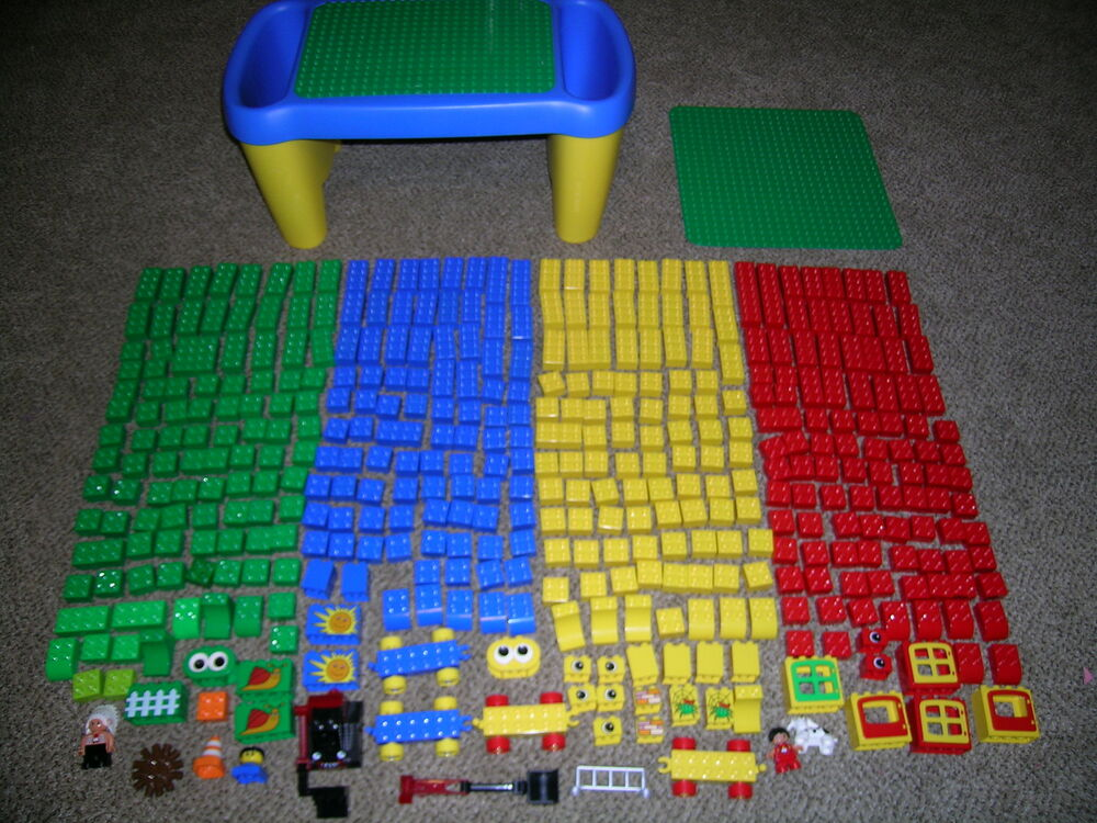 lego duplo toddler blocks and building table desk lot of. Black Bedroom Furniture Sets. Home Design Ideas