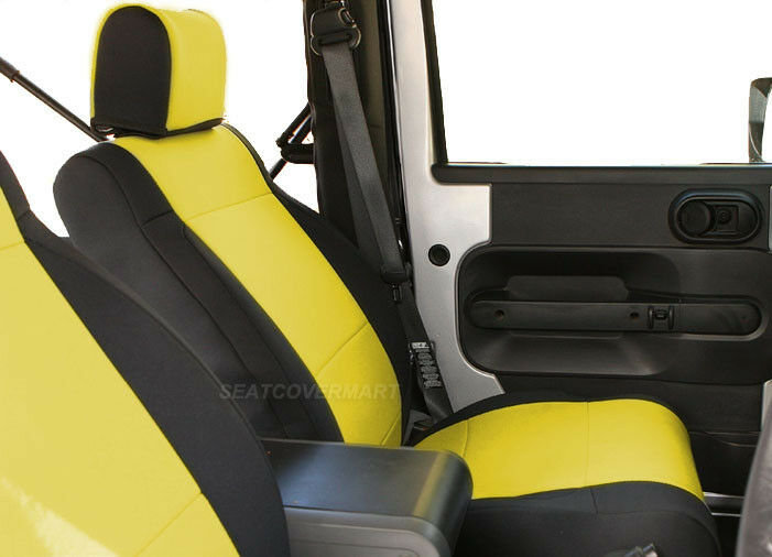 jeep wrangler unlimited 2007 10 neoprene full set seat cover 4 dr yellow yes4d ebay. Black Bedroom Furniture Sets. Home Design Ideas