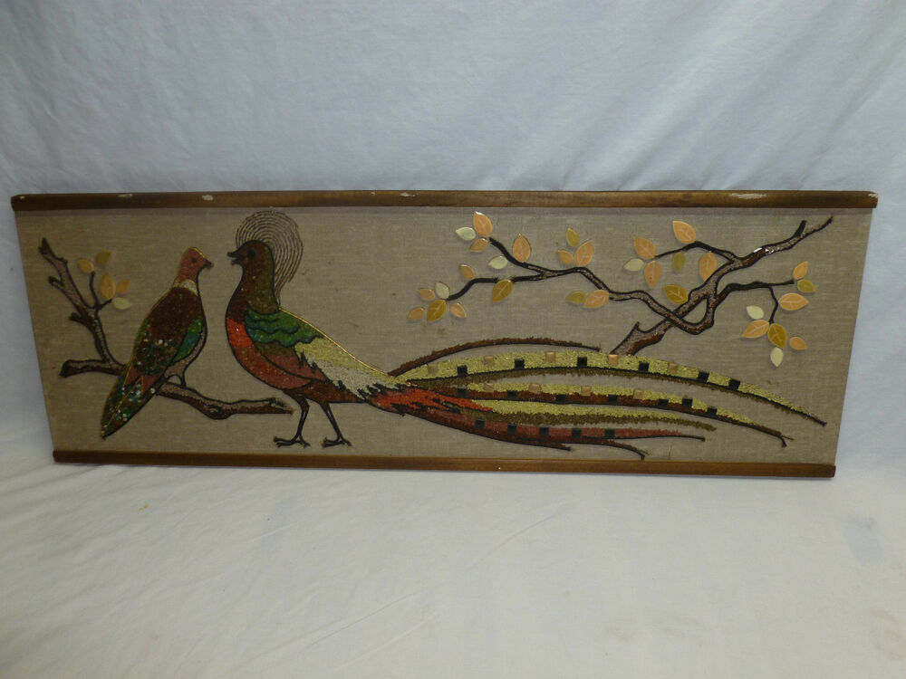 Vtg retro mid century modern pheasant bird mosiac pebble for Retro wall art