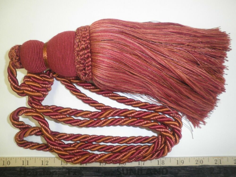 2 decorative drapery tie backs w 10 tassel cranberry red for Designer curtain tie backs
