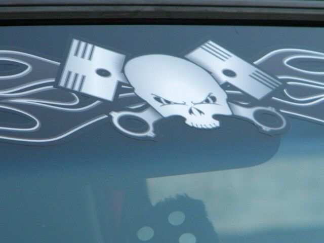 Old School Flame Skull Piston Windshield Decal Mustang