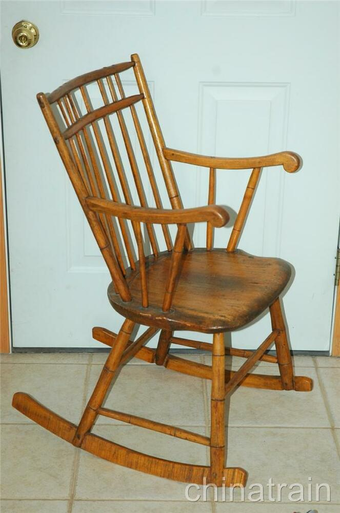 Antique New England Colonial Early American Rocking Chair