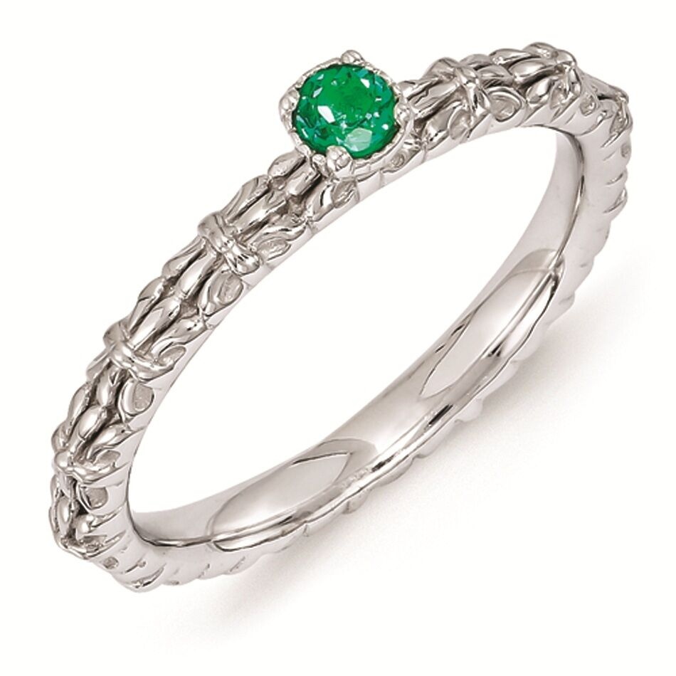 silver stackable ring created emerald may