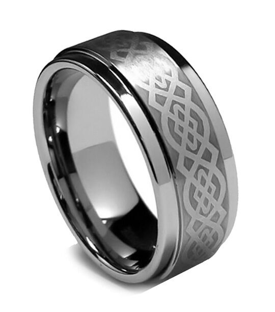 8MM Mens Tungsten Ring Wedding Band Celtic Ring Step High
