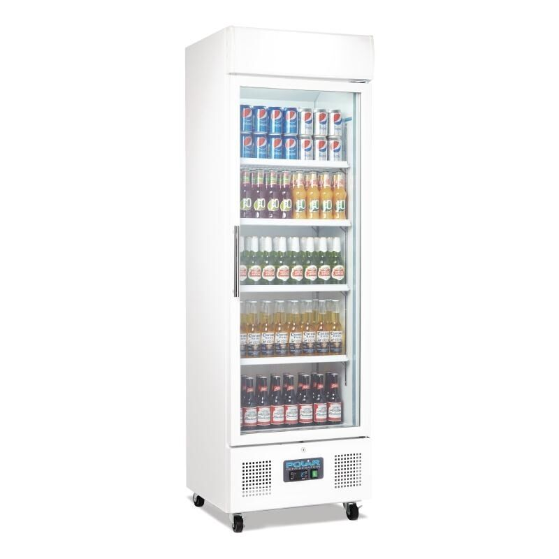 Refrigerated upright display fridge glass door 368lt polar for 1 door chiller