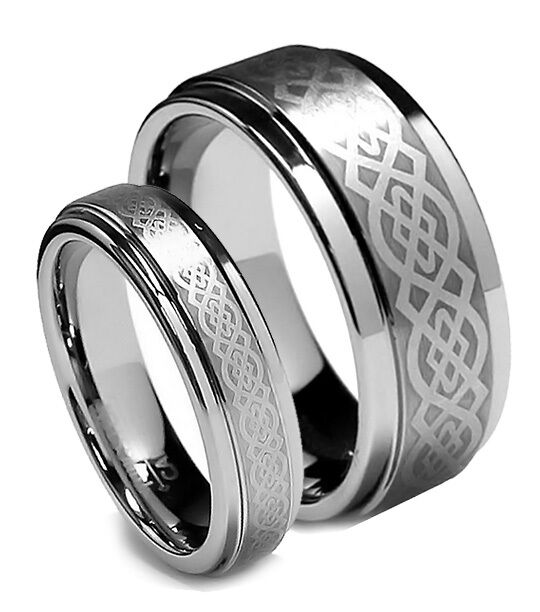 Matching wedding band set tungsten rings celtic design for Tungsten celtic wedding ring