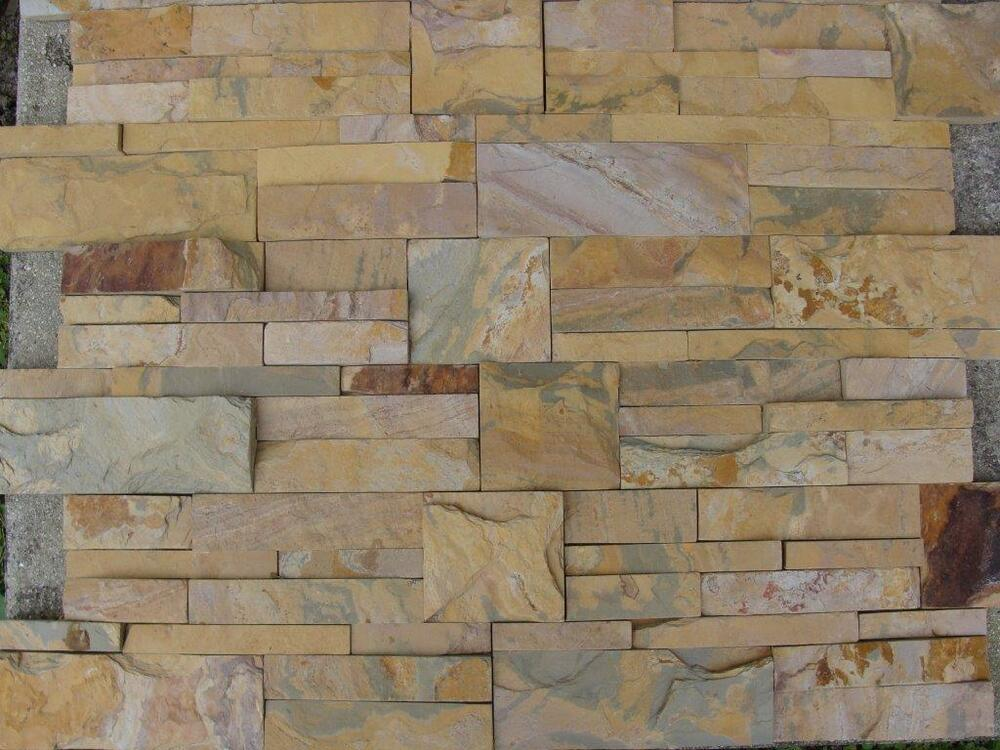 desert beige stacked natural stone for walls backsplash