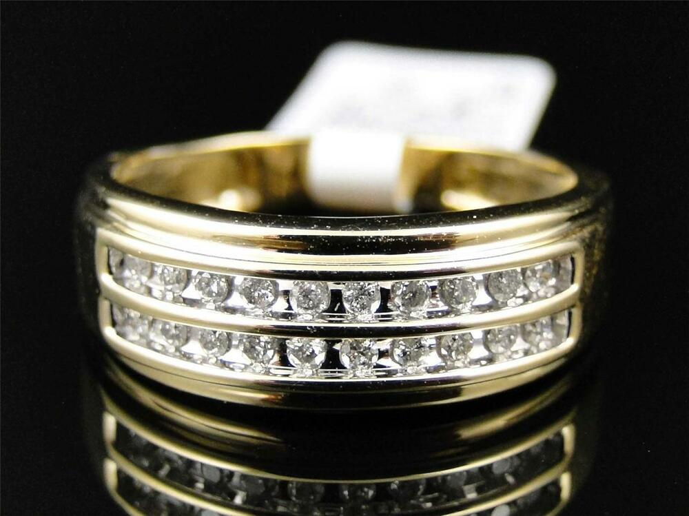 mens wedding rings gold mens 10k yellow gold cut white 2 row 5816
