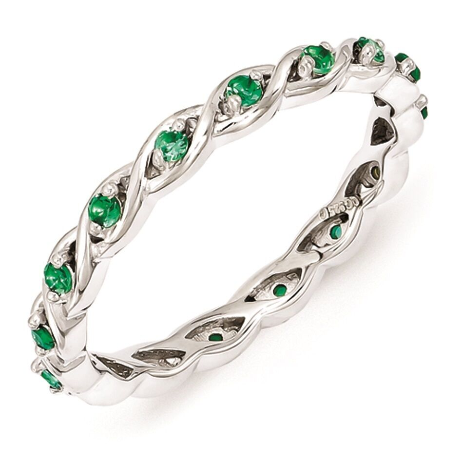 Sterling Silver Stackable Ring Created Emerald stones May ...