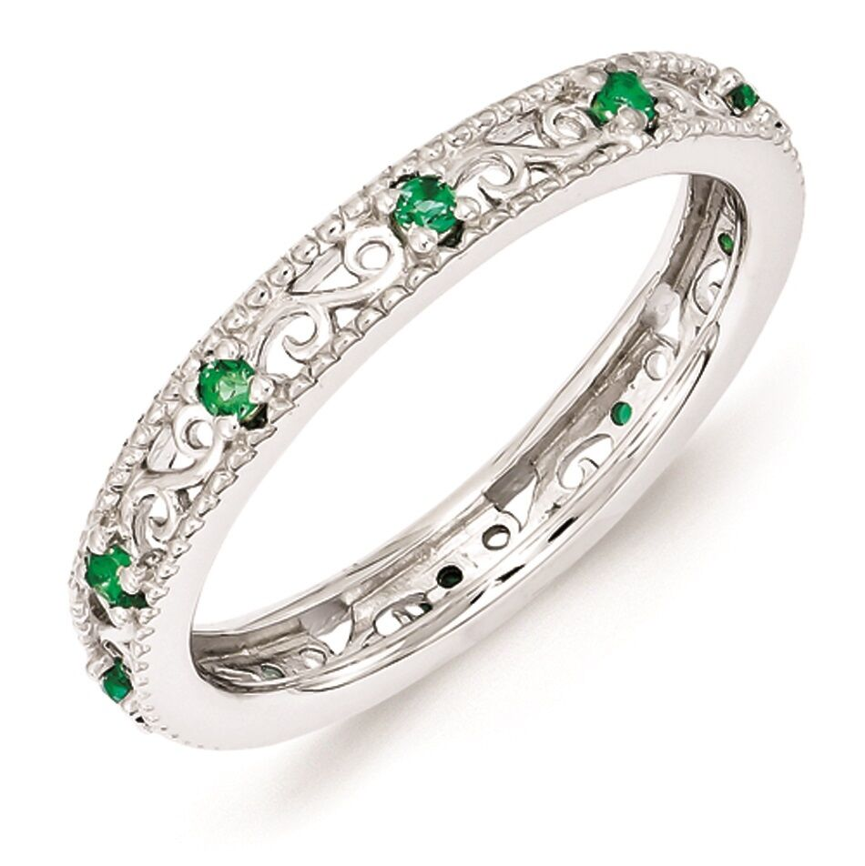sterling silver stackable ring created emerald stones may