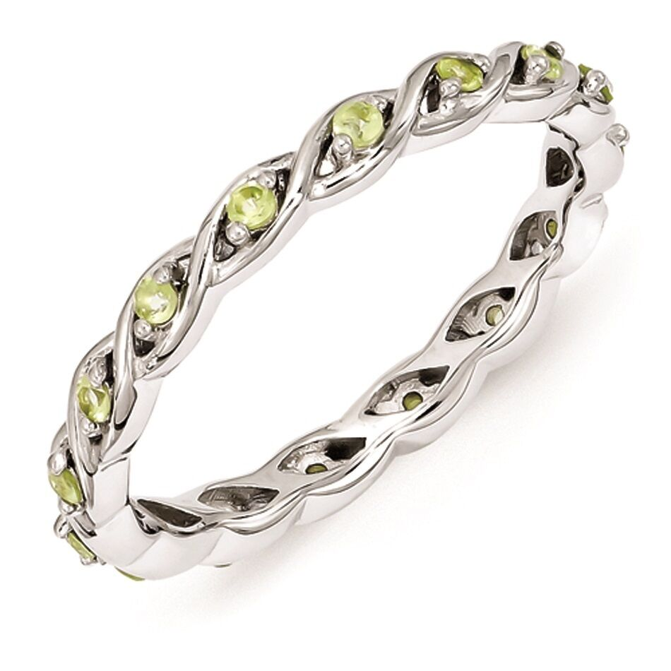silver stackable ring peridot stones august