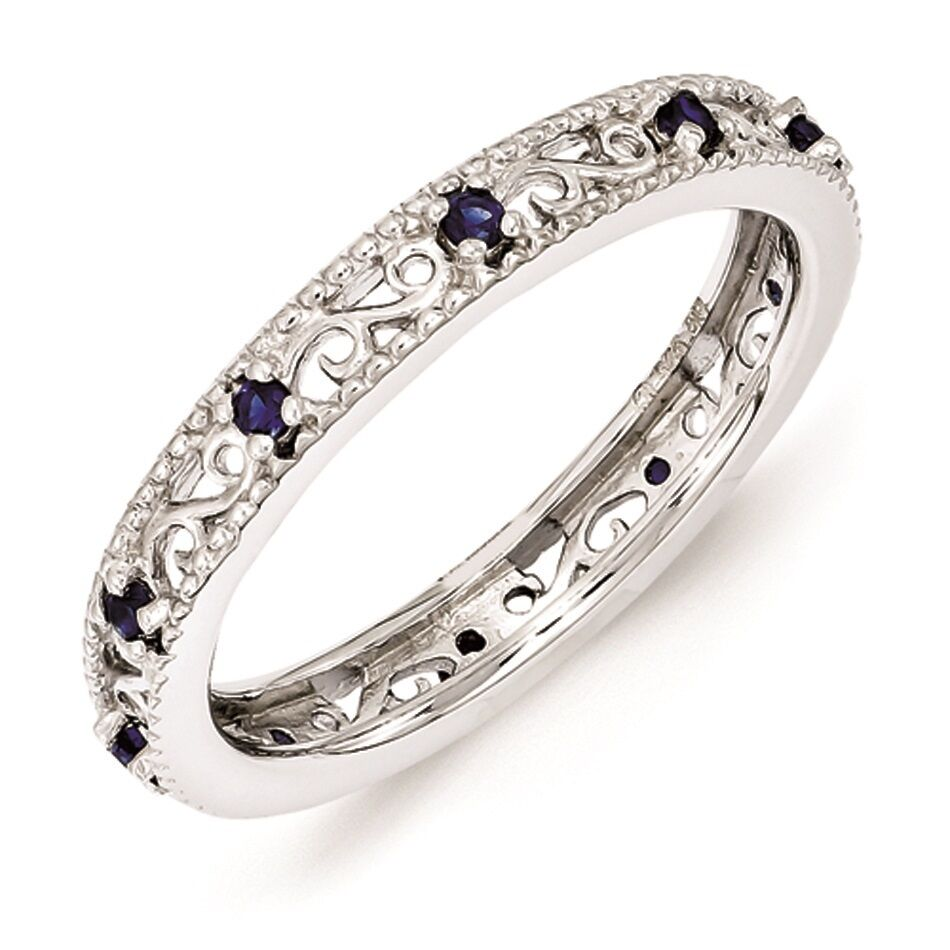 silver stackable ring created sapphire stones september