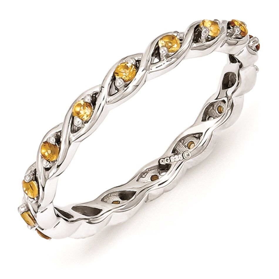 Sterling silver stackable ring citrine november birthstone for The sterling