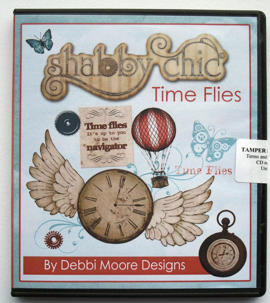 debbi moore designs cd rom shabby chic time flies ebay. Black Bedroom Furniture Sets. Home Design Ideas