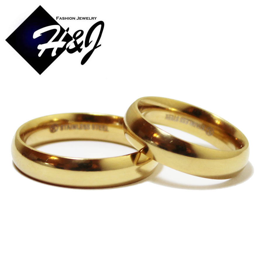 Simplistic Bands: His & Hers 2 Pcs Stainless Steel 5mm Gold Plain Simple