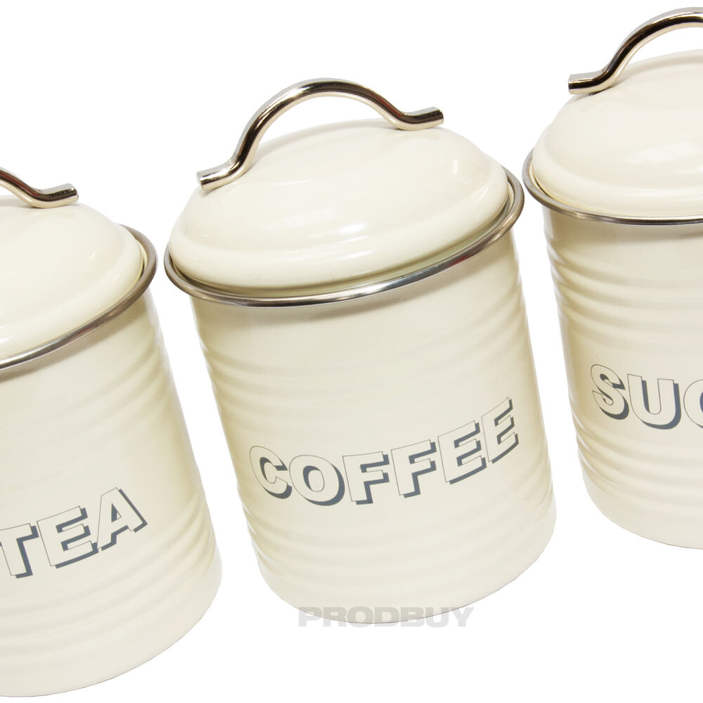 Cream Kitchen Storage Jars: Vintage Cream Enamel Tea Coffee Sugar Kitchen Storage