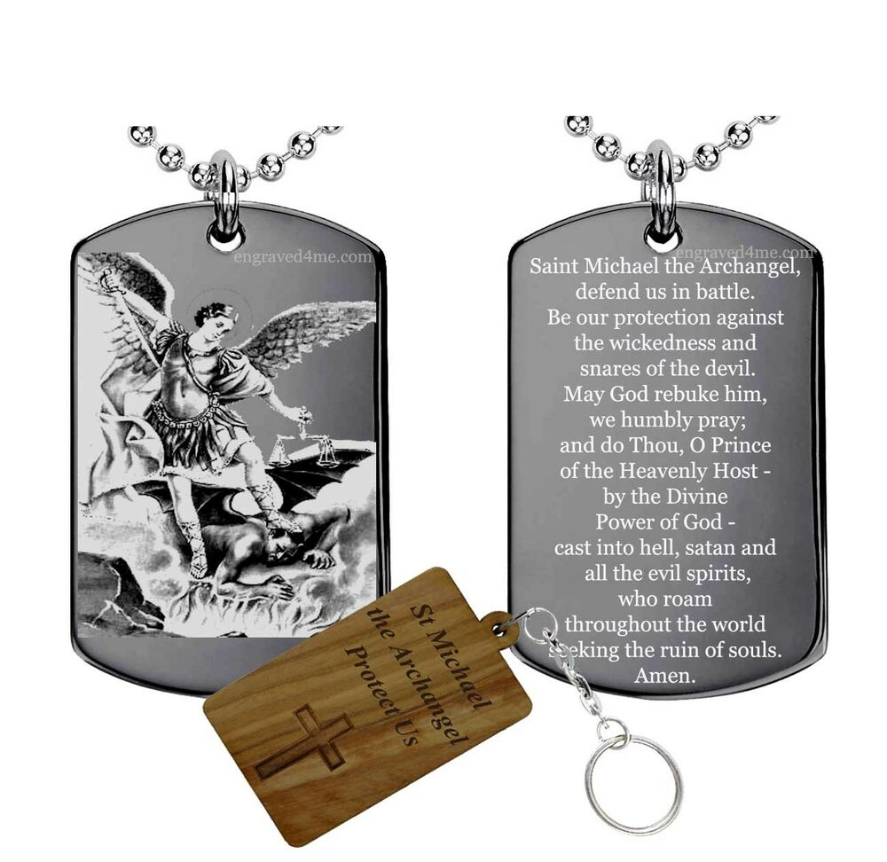 prayer to st michael the archangel tag necklace medal