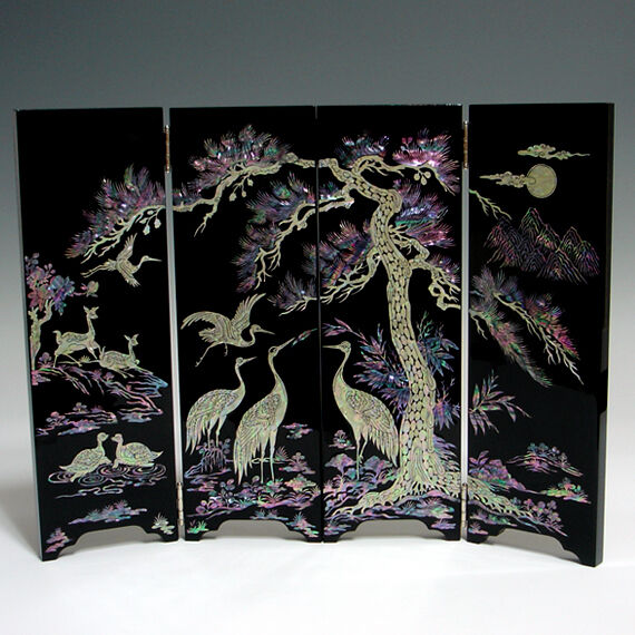 Mother Of Pearl Inlay Wooden Mini Folding Screen Asian