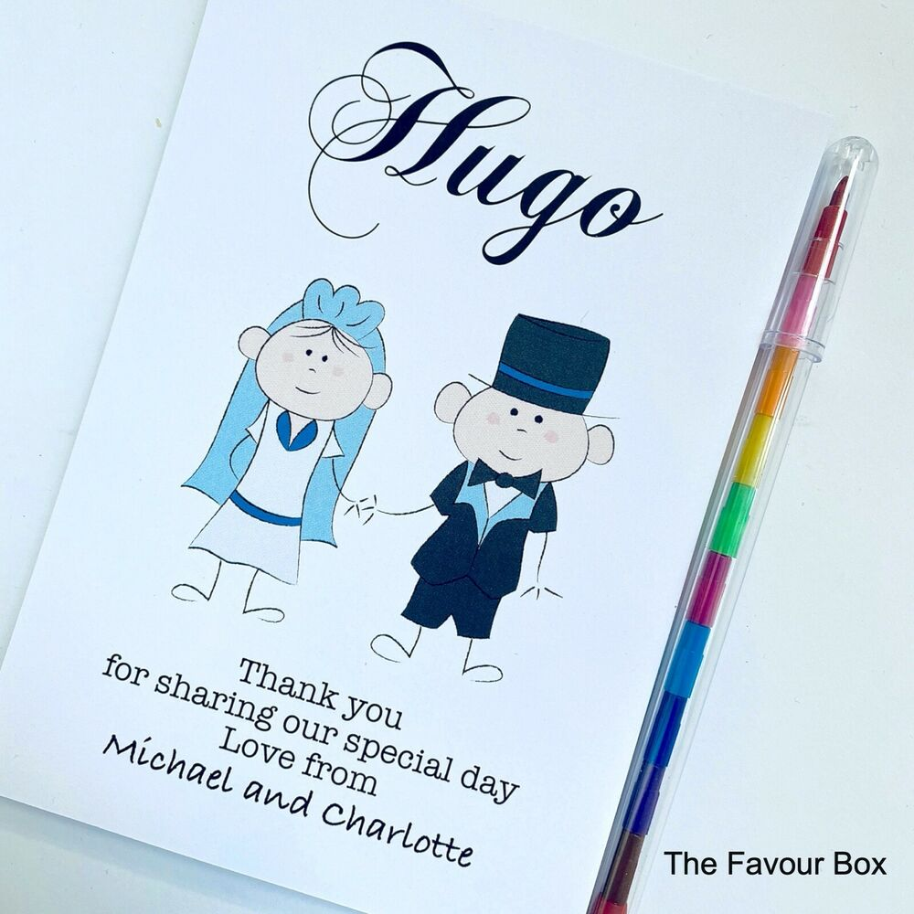 Kids Wedding Gifts: Childrens Personalised A6 Wedding Activity Book Favour