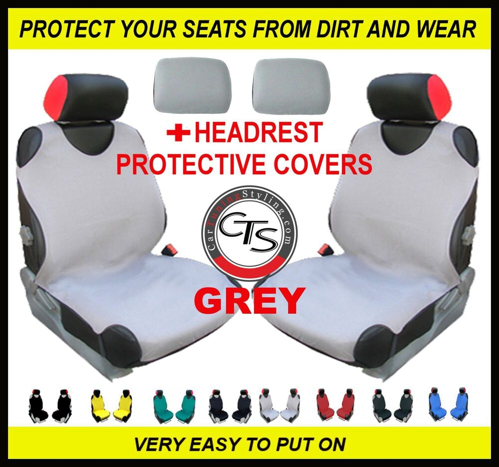 Car front seat covers pair headrest grey mercedes benz for Seat covers for mercedes benz c class