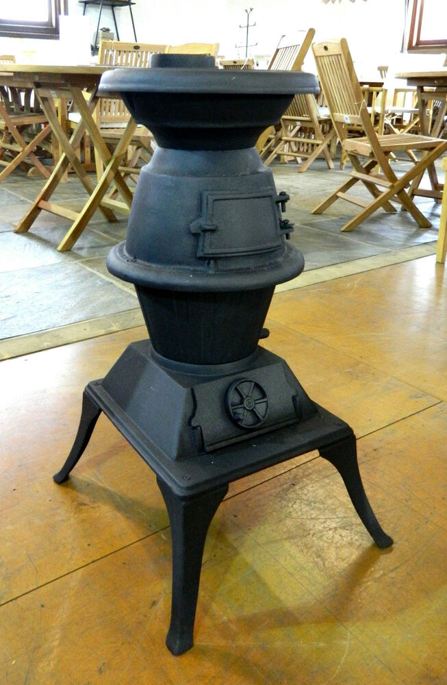 Small Pot Belly Solid Cast Iron Outdoor Stove Heater Black Ebay