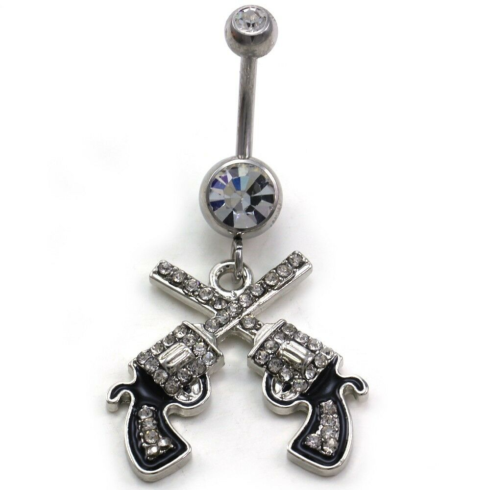 Western cowgirl revolver pistol gun dangle belly button for Belly button navel jewelry