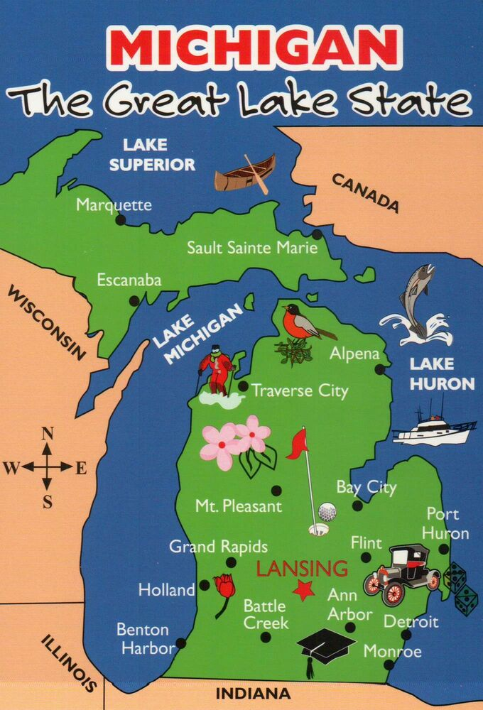 State Map Of Michigan Great Lakes Canada Detroit Etc