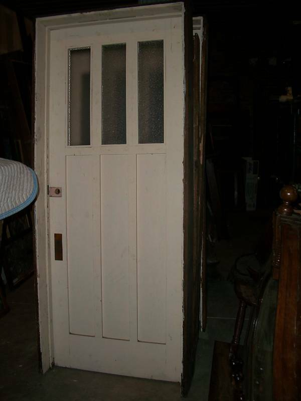 Antique oak 6 panel arts and crafts solid wood door ebay for Vintage solid wood doors