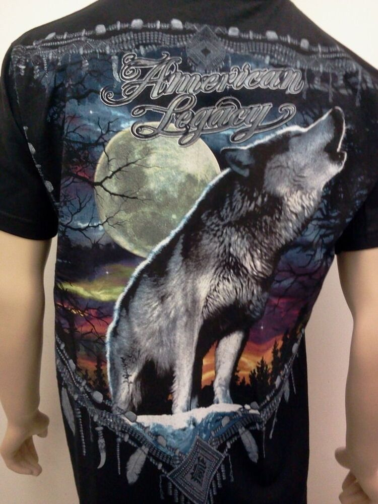 wolf t shirt new free shipping howling wolves and moon. Black Bedroom Furniture Sets. Home Design Ideas