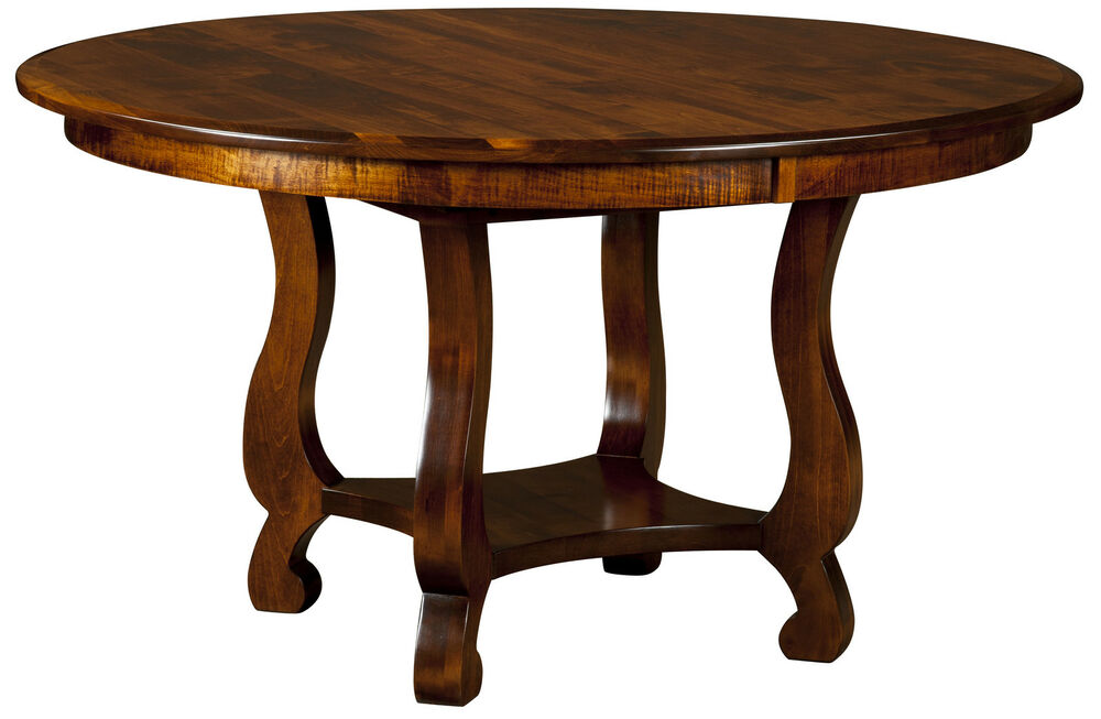 Amish farmhouse round classic dining table country solid for Solid wood farmhouse table