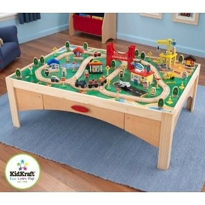 KidKraft Wooden Play Table & 120 Piece Train Set - Natural ...