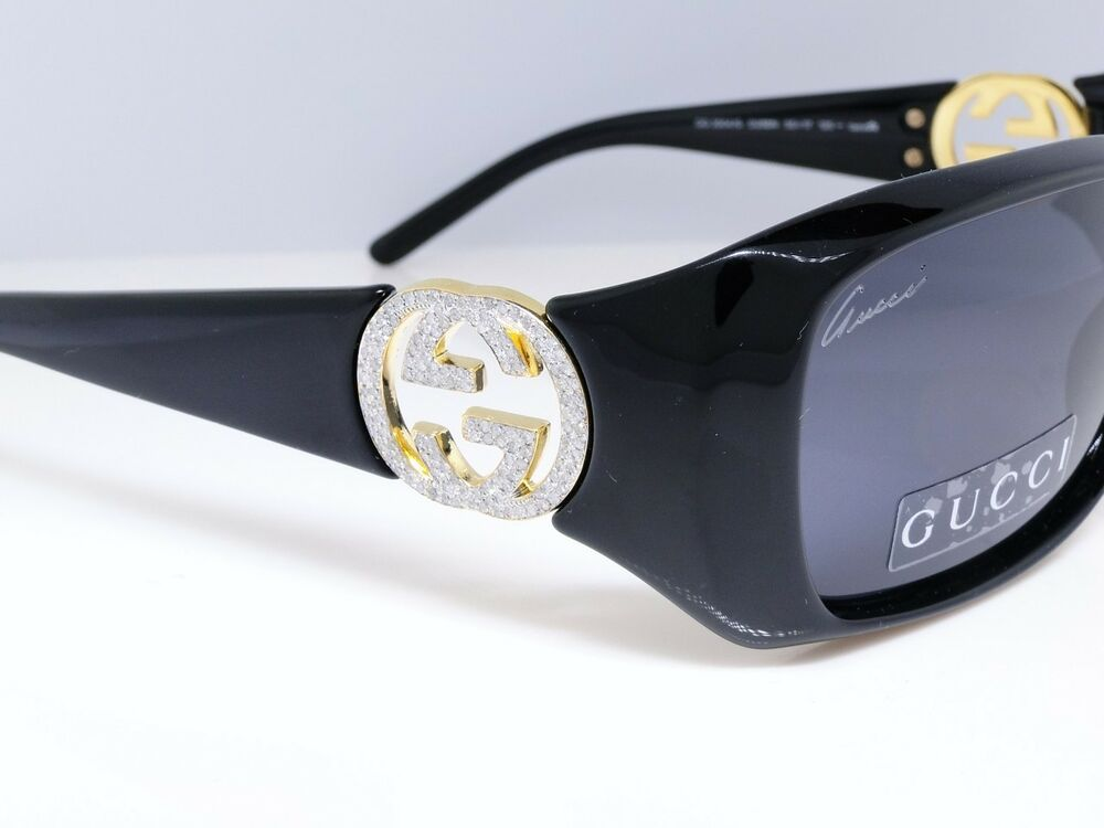 Unisex Iced Out Gold Gucci Gg 3504 Sunglasses With Genuine