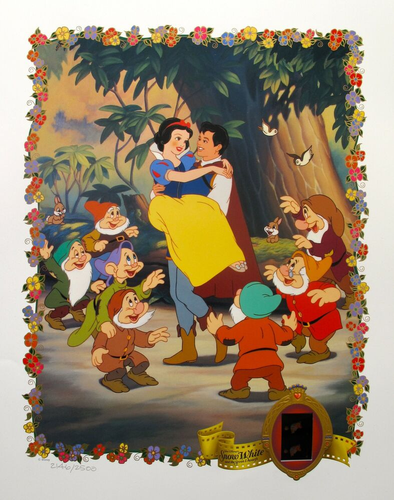 DISNEY SNOW WHITE Lithograph with Original Film Cels 35mm