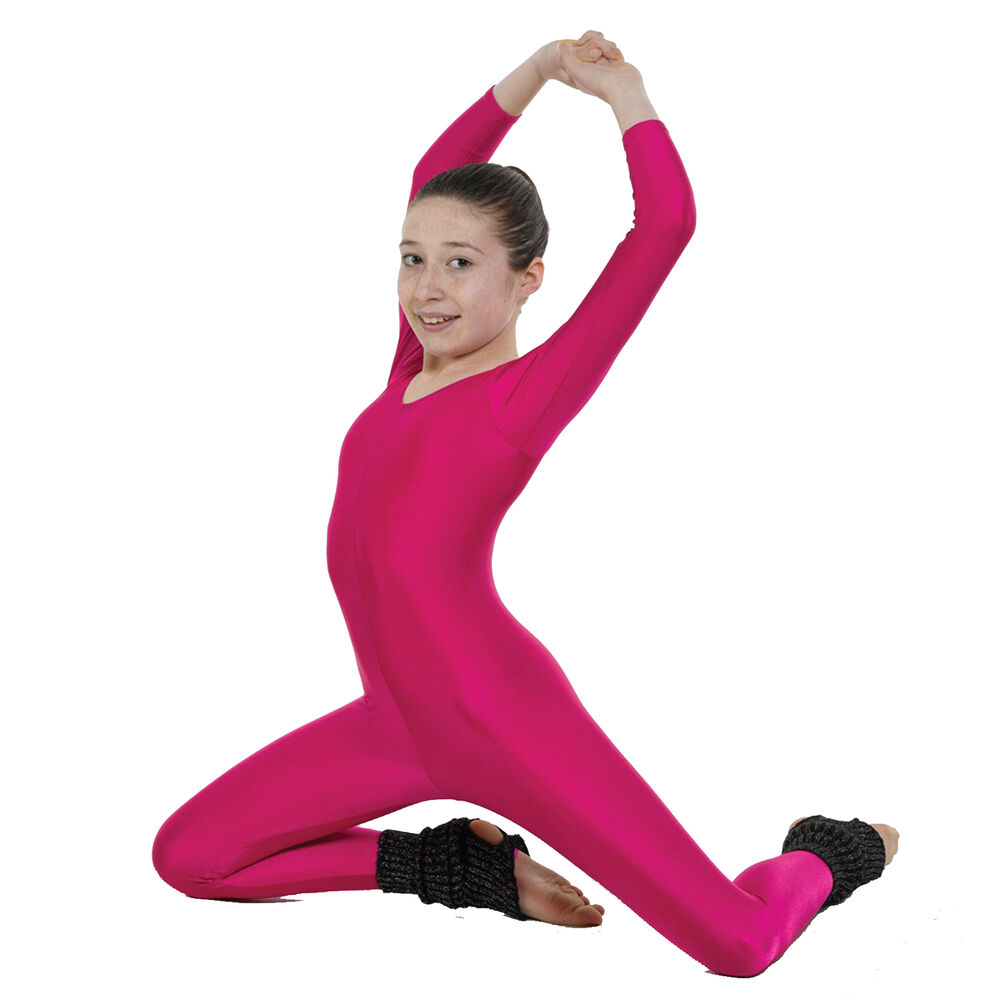 Childrens Adults Nylon Lycra Long Sleeved Dance Catsuit