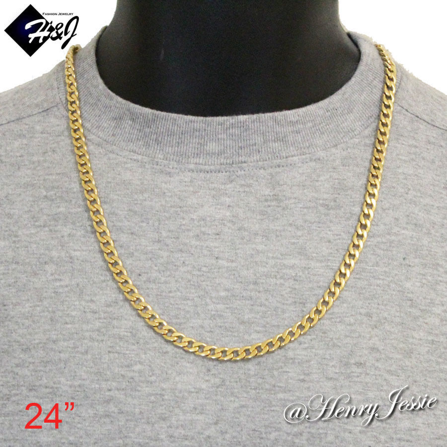 24 men 39 s women 39 s stainless steel 6mm gold cuban curb chain. Black Bedroom Furniture Sets. Home Design Ideas