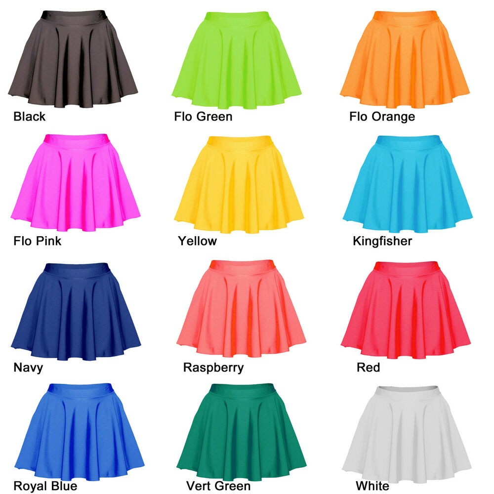 Skater Skirt Ladies Girls Lycra Circular Skating Dance Tap