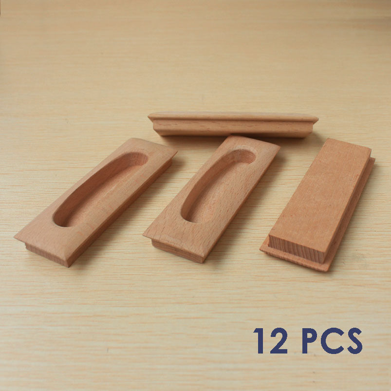 12 pcs wooden cabinet drawer handle concealed finger pulls Fingertip design kitchen door handles