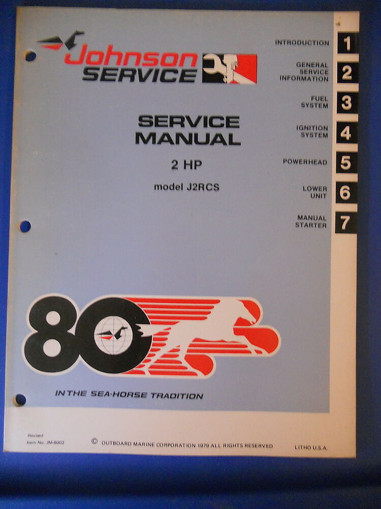 Johnson Outboard Service Manual 1980 2 Hp Models J2rcs Ebay